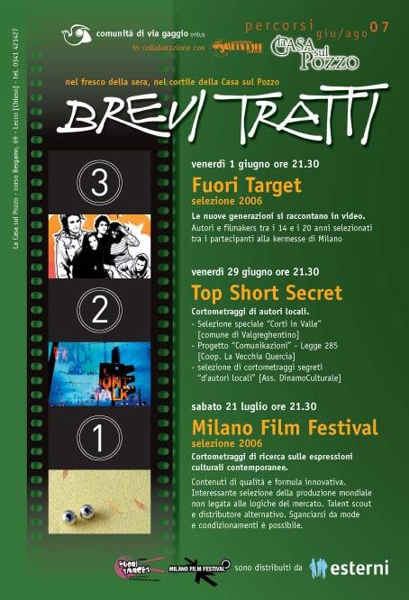 Locandina 'Brevi tratti', percorso in 3 serate animato da cortometraggi.  1 Giugno 2007, 29 Giugno 2007, 1 Luglio 2007.